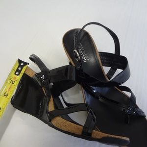 Black Cork and Patent Leather Sandals